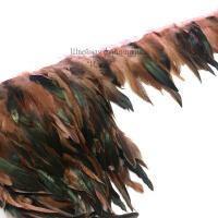 Перья петуха на ленте 15см (розово-черный)