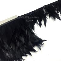 Перья петуха на ленте 12см (черный)