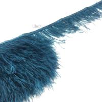 Перьевая лента из перьев страуса 8-10см СИНЕ-ЗЕЛЕНЫЙ