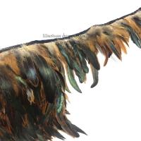 Перья петуха на ленте 15см (бежево-черный)