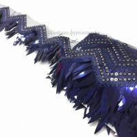 Бахрома с пайетками на сетке 12см (темно-синий)