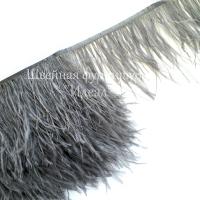 Перьевая лента из перьев страуса 8-10см ТЕМНО-СЕРЫЙ