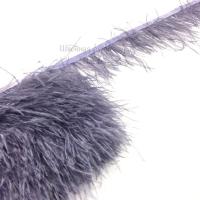 Перьевая лента из перьев страуса 8-10см СЕРО-СИРЕНЕВЫЙ